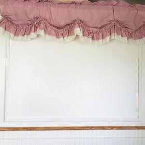 Vtg JC Penney Valance Ruffled Pink Farmhouse 82x20